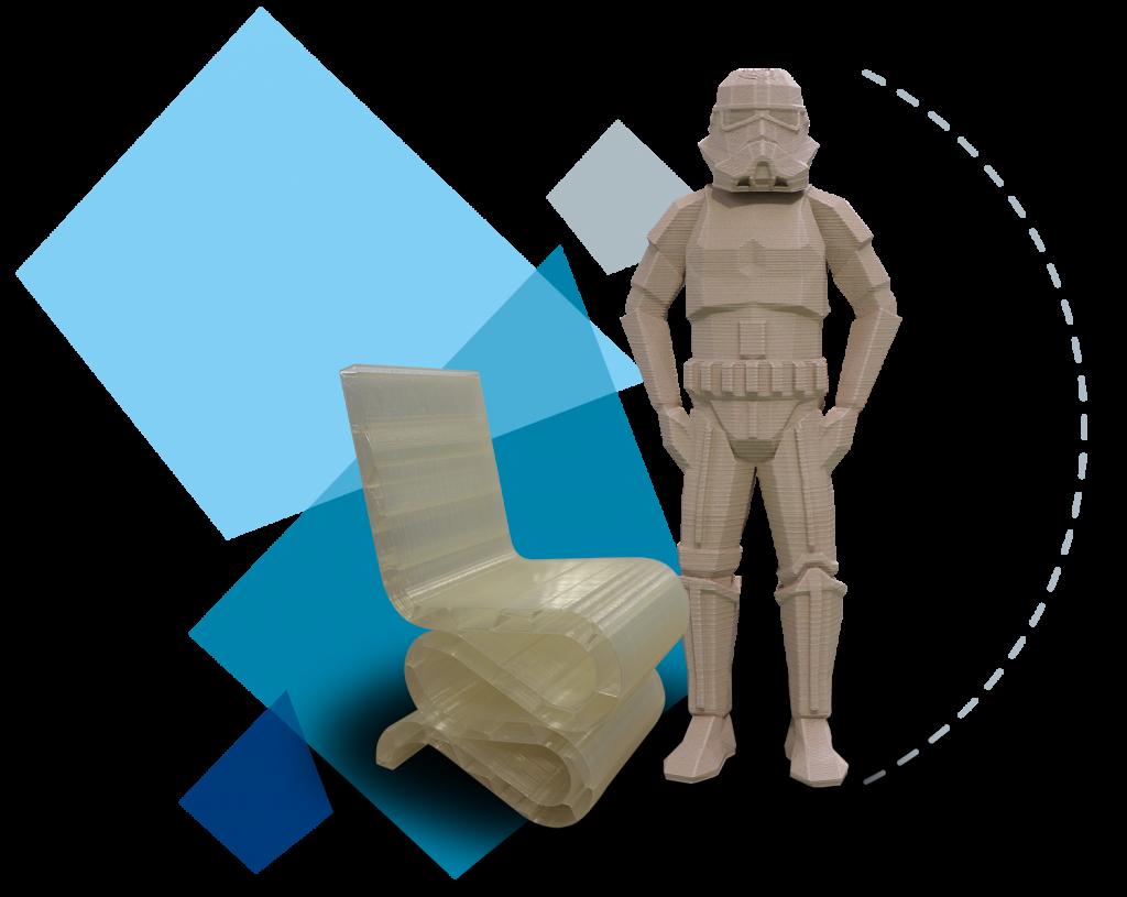 Silla y figura impresa en impresora 3D industrial Super Discovery 3D Printer